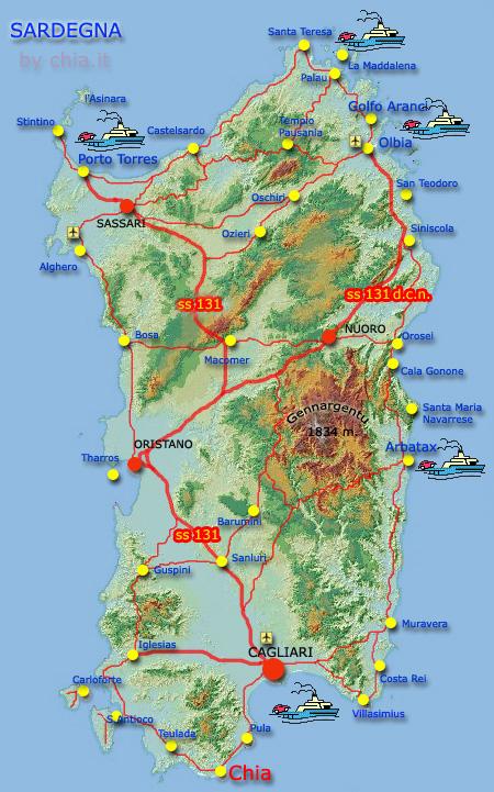 Cartina Sardegna Geografica.Cartina Sardegna